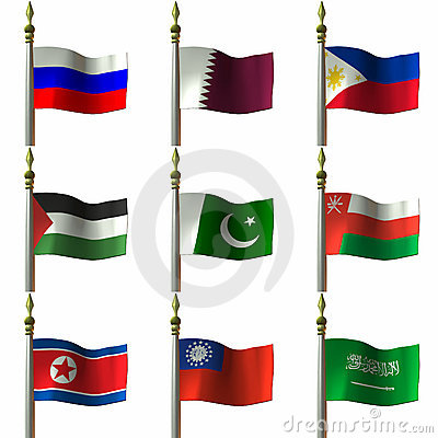 Free Asian And Middle Eastern Flags Royalty Free Stock Photos - 2032058
