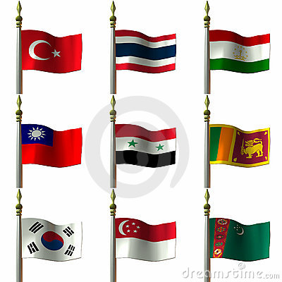 Free Asian And Middle Eastern Flags Stock Photo - 2032070