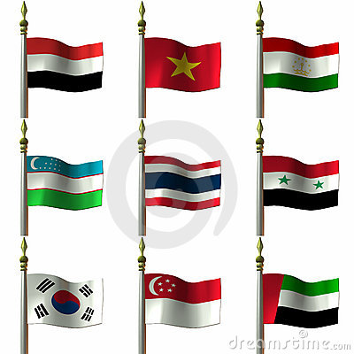 Free Asian And Middle Eastern Flags Royalty Free Stock Images - 2032079