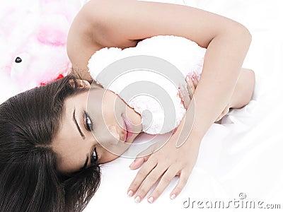 Asian babe with her teddy bear