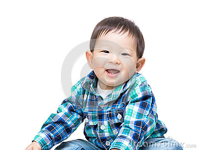 Asian baby boy laugh