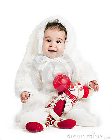 Asian baby boy in a rabbit fancy dress