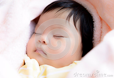 Asian baby  girl sleep