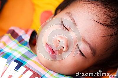 Asian baby girl sleeping