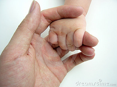 Asian baby hand in adult hand