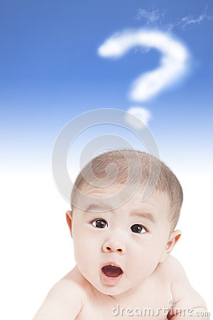 Asian baby with question mark