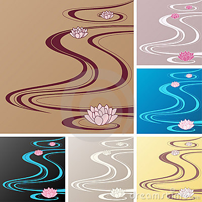 Asian backgrounds with oriental waves and lotuses