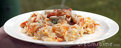 Asian basmati rice risotto with grilled prawns