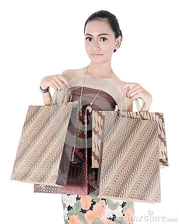 Asian beautiful woman holding shopping bags
