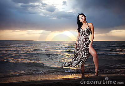 Asian Beauty On The Beach Royalty Free Stock Images - Image: 10668149