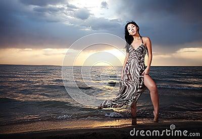 Asian beauty on the beach
