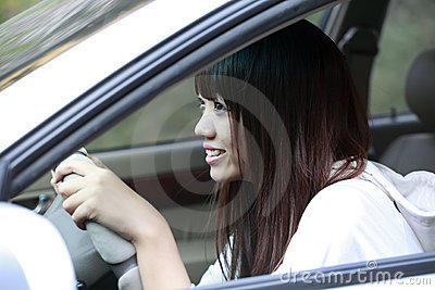 Asian beauty driving car