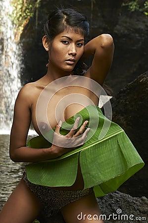 Asian Beauty At Jungle Waterfall