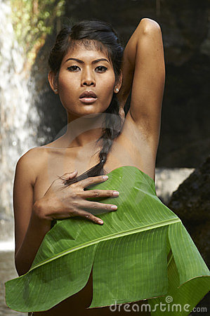 Asian Beauty At Jungle Waterfall