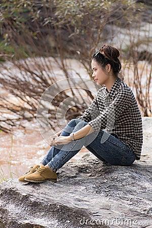 Asian Beauty portrait at Cataract