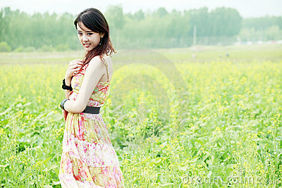 Asian beauty in rape field