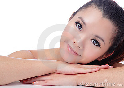Asian beauty skin care Girl smiling