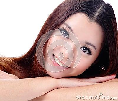 Asian beauty skin care Girl smiling