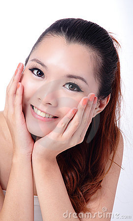 Asian beauty skin care Girl touching her face