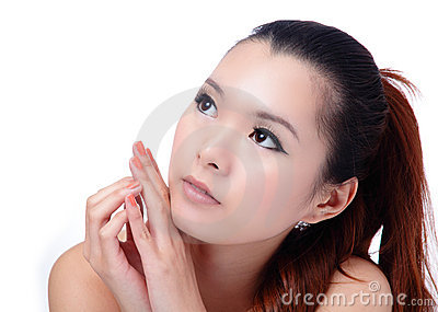 Asian beauty skin care (Spa) woman face close-up
