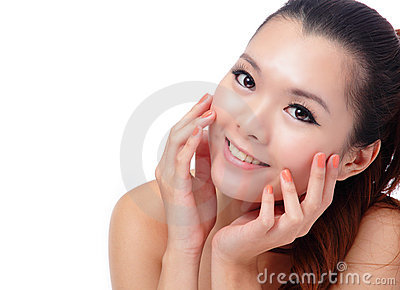 Asian beauty skin care woman smiling