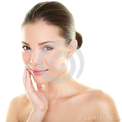 Free Asian Beauty Skincare Woman Touching Skin On Face Royalty Free Stock Photo - 33676675