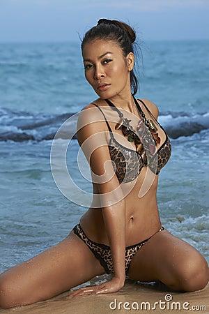 Asian Beauty On Sunny Beach