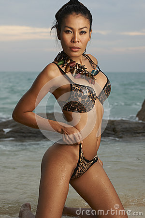 Asian Beauty On Sunny Beach