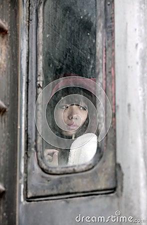 Asian beauty on train