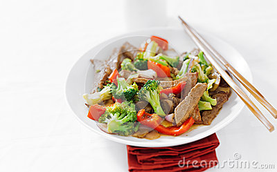 Asian beef stir fry with copy space composition
