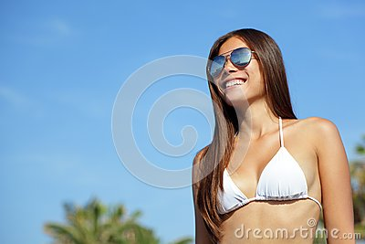 Asian bikini woman wearing sunglasses