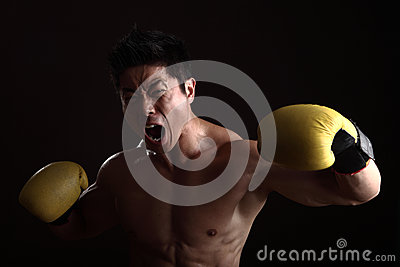 Asian boxer punching and yelling