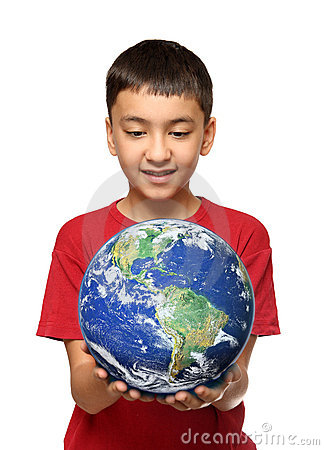Asian boy holding earth palnet