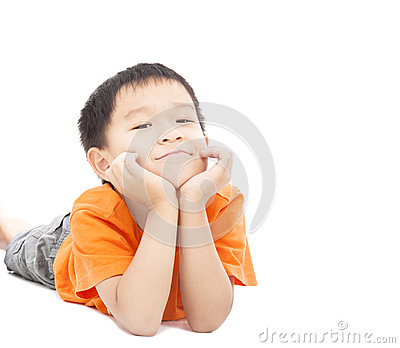 Asian boy lying on floor