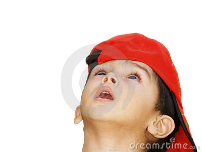 Asian boy with red hat