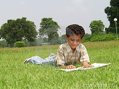 Asian boy studying