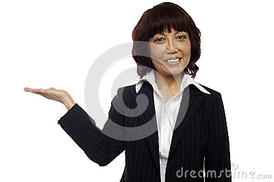 Asian business lady presenting copy space