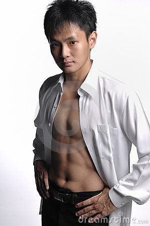 Asian business man baring body