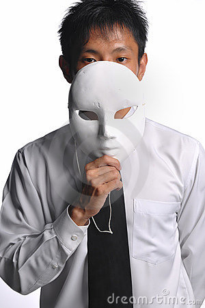 Asian business man hiding behind mask