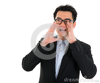 Asian business man shouting