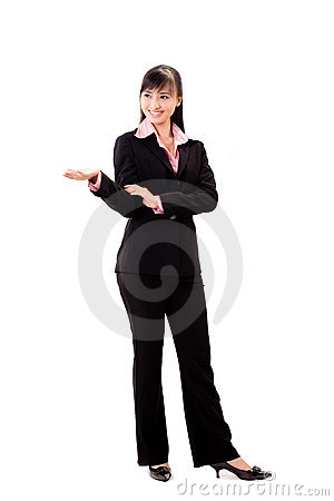 Asian business woman doing presentation