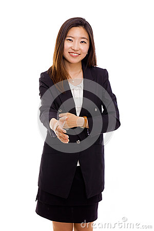Asian business woman giving hand.