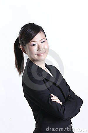 Asian business woman with her arms crossed