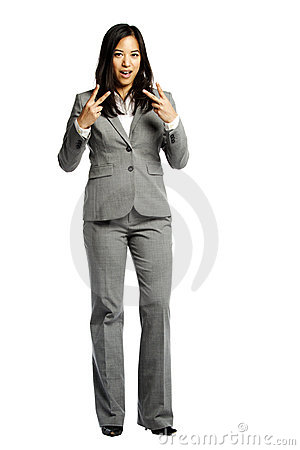 Asian business woman making a peace sign