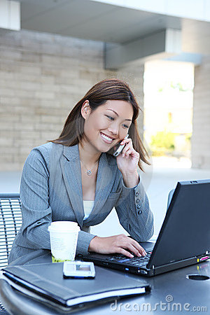 Free Asian Business Woman On Laptop Stock Photo - 5701190