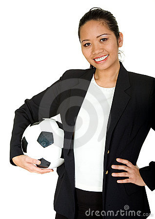 Asian business woman - team player