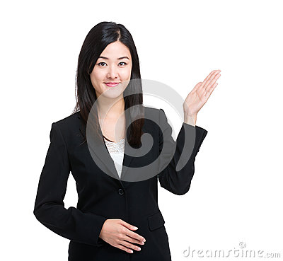 Free Asian Business Woman With Hand Presentation Stock Image - 42105571