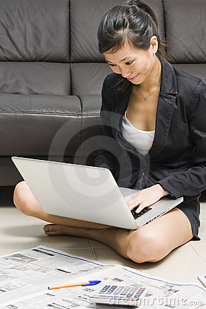 Asian business woman working from home