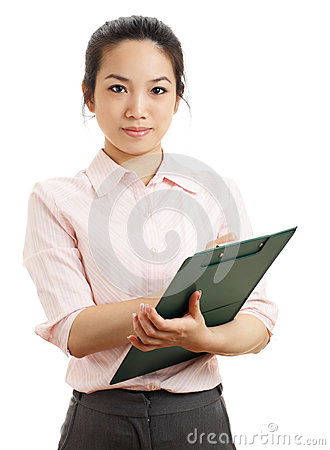 Asian business woman with writing pad