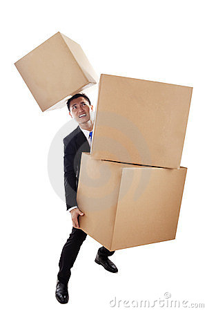 Asian businessman carrying boxes